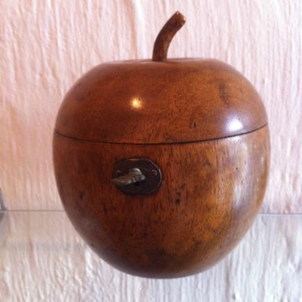 Apple Fruit Wood Tea Caddy with Lock & Key