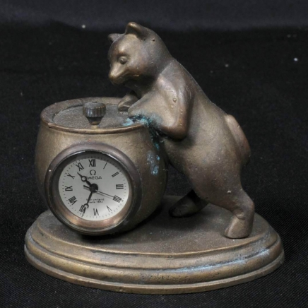 Brass Cat with Jar Omega Novelty Clock