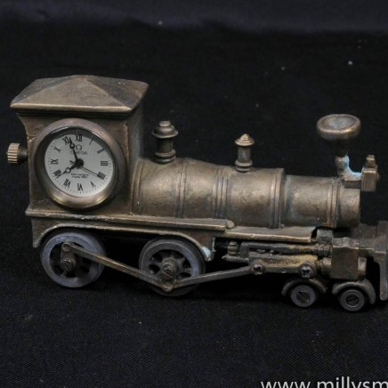 Brass Novelty Steam Train Omega Clock