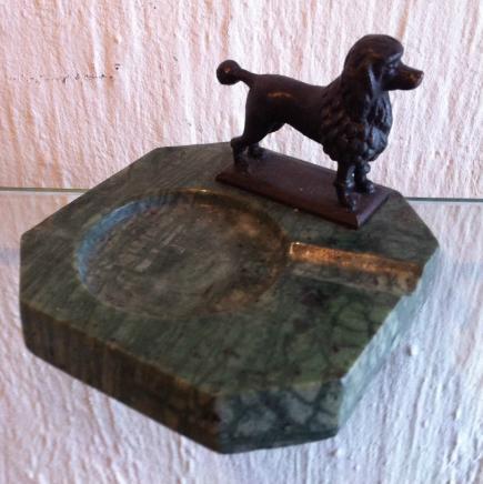 Bronze Poodle & Onyx Stone Ash Tray