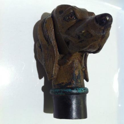 Cold Painted Bronze Walking Stick Handle in Shape of Dog