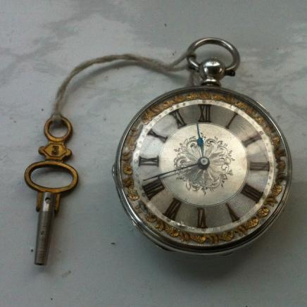 Early Silver & Enamel Lady Pocket Watch with Key