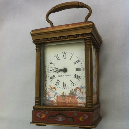 French Porcelain Panelled Bronze Carriage Clock