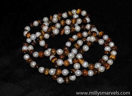 Freshwater Pearl & Tiger's Eye Necklace