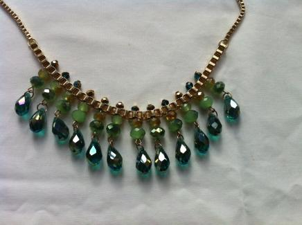 Green & Turquoise Crystal Droplet Necklace