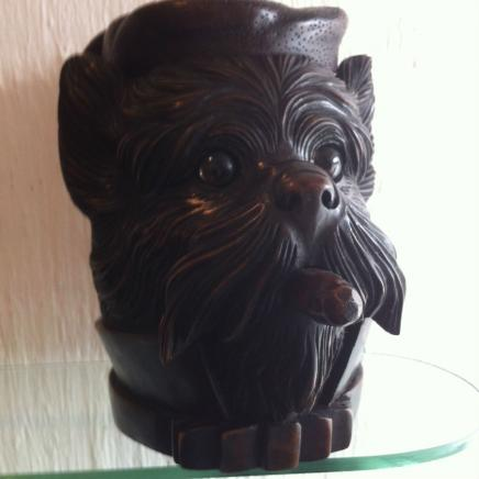 Hand Carved Black Forest Wood Tobacco Jar
