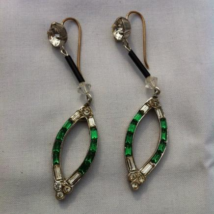 Hand Made Green & White Droplet Earrings