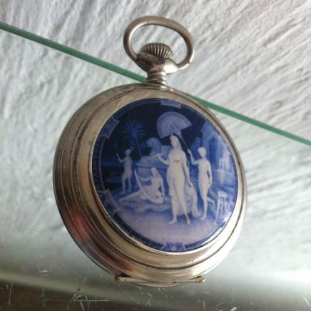 Large Antique Solid Silver 'Enigma' Pocket Watch