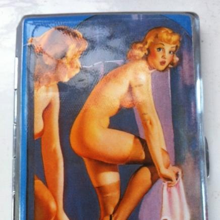 Large Silverplate & Enamel Varga Cigarette Case