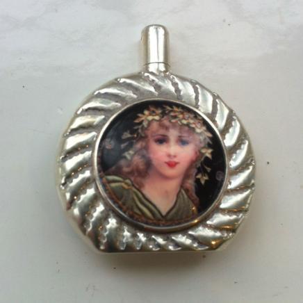 Miniature Silver & Enamel Scent Bottle & Dibber