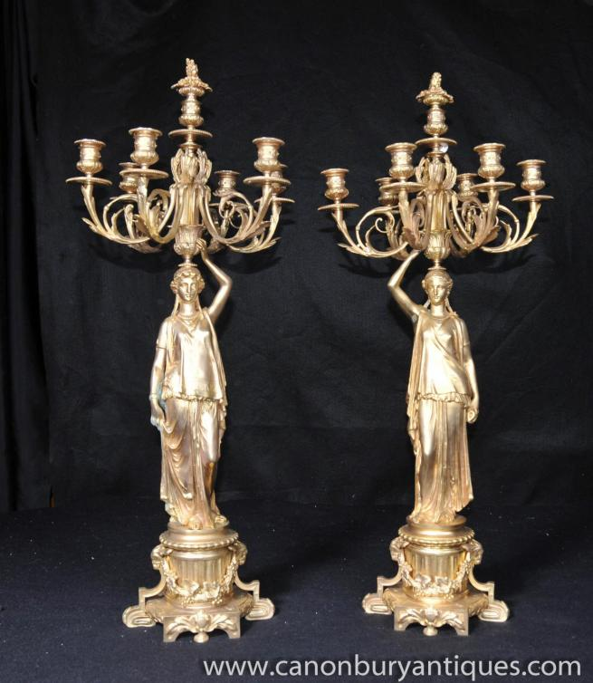 Pair Antique French Ormolu Candelabras