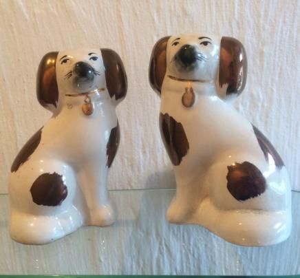 Pair Porcelain Spaniel Dogs
