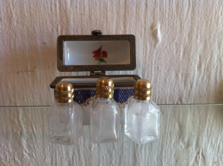 Pretty German Porcelain Miniature Perfume Bottle Holder