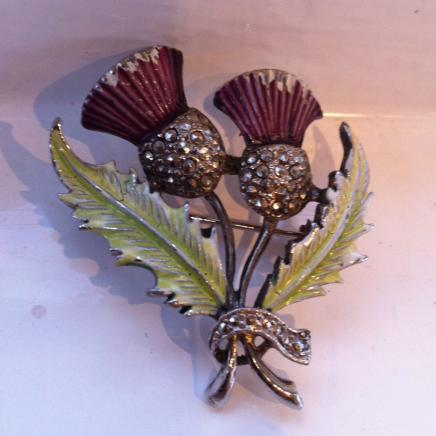 Pretty Vintage Enamel & Marcasite Thistle Brooch