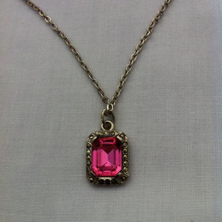 Rose Quartz & Marcasite Necklace