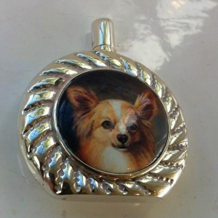Solid Silver & Enamel Chiwawa Dog Scent Bottle
