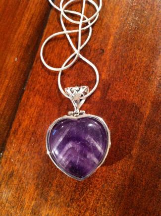 Solid Silver & Fluorite Filigree Heart Pendant & Chain