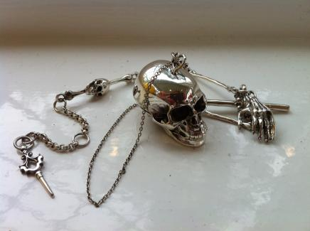 Solid Silver Fob Watch Chain & Gothic Skull Snuff Container
