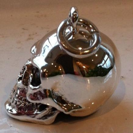 Solid Silver Gothic Skull Pendant
