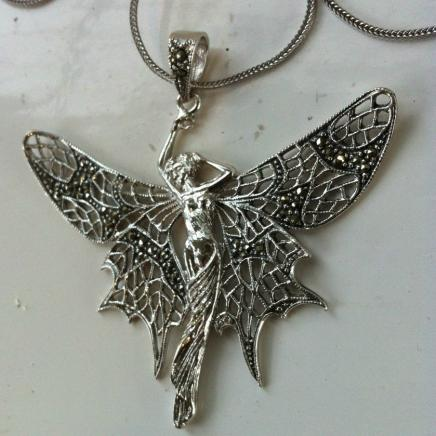 Solid Silver & Marcasite Angel Necklace