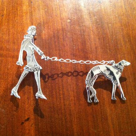 Solid Silver & Marcasite Art Deco Lady Walking Her Dog