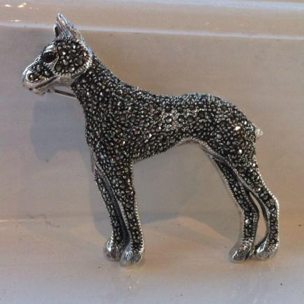 Solid Silver & Marcasite Dog Pin