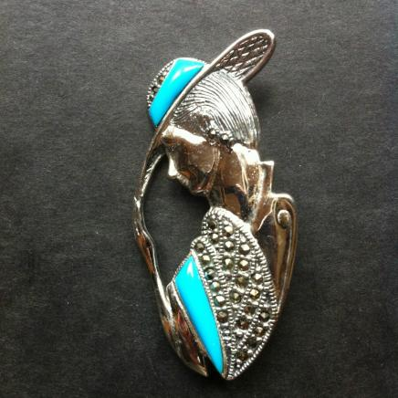 Solid Silver with Enamel & Marcasite Art Deco Lady Brooch