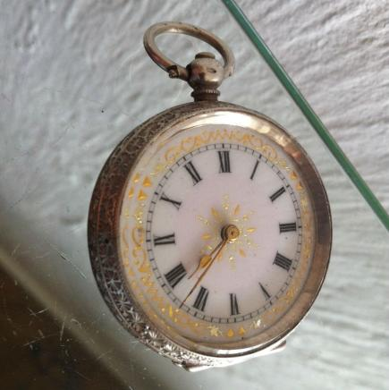 Sterling Silver with Enamel Lady Pocket Watch