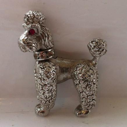 Vintage Designer Napier Silver Tone Poodle Brooch