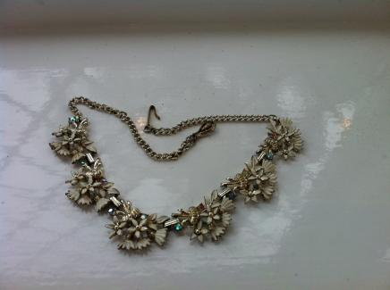 Vintage White Enamel & Crystal Evening Necklace