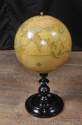 Antique English World Globe Mahogany Base Globes