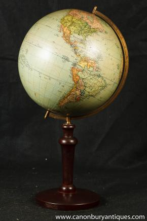 Antique Swedish World Globe Map Mahogany Stands