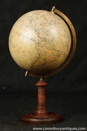 Antique Swedish World Globe Map on Wooden Stand