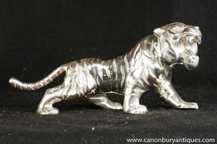Art Deco Silver Plate Sabre Tooth Tiger Statue Casting Cats