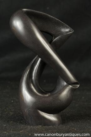 Black Marble Abstract Art Sculpture Modernist Carved Figurine