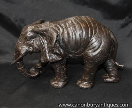 Bronze African Elephant Statue Casting Tribal Art