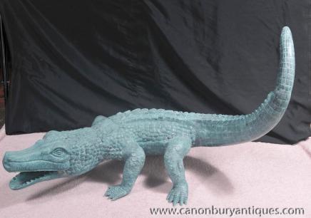 Bronze Crocodile Statue Alligator Casting Reptiles Animals