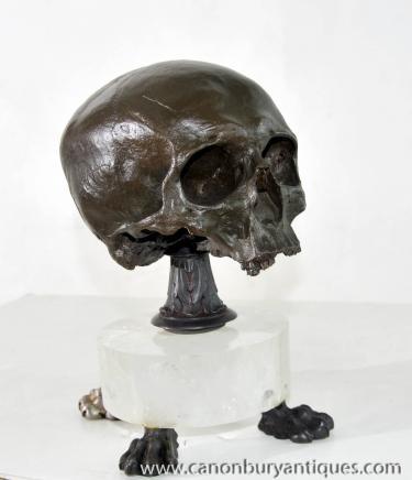 Bronze Gothic Skull Casting Rocky Crystal Base Hamlet