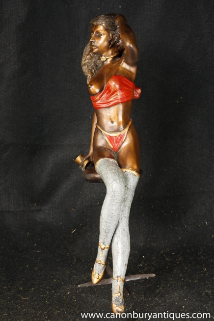 Bronze Semi Nude Erotic Female Figurine Statue Sexy Art