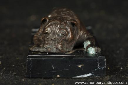 English Bronze Bulldog Statue Lying Bull Dog