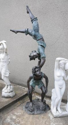 English Bronze Casting Two Boy Acrobats Garden Statue 7ft