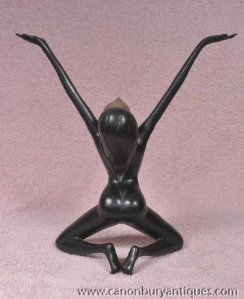French Bronze Art Deco Erotic Nude Figurine Modernist