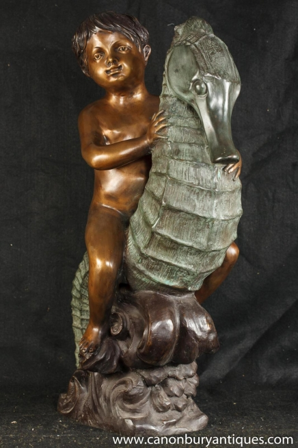 French Bronze Cherub Sea Horse Statue Pond Figurine Boy Casting