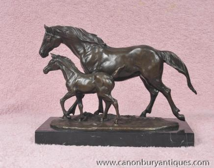 French Bronze Horse and Foal Statue Figurine Signed Milo Pony