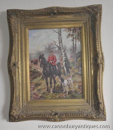 French Oil Painting Hussar Soldier Horseback Portrait Gilt Frame