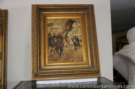 French Oil Painting Soldiers Horse Crimea War Military Art