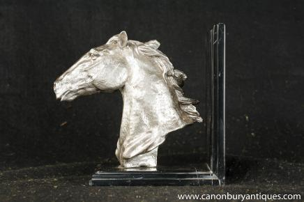 French Silver Plate Marble Horse Head Bust Bookend