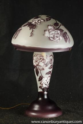 French Tiffany Glass Table Lamp Light Galle