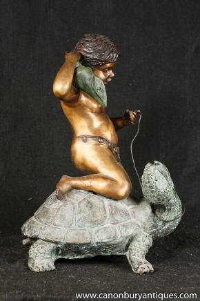 Italian Bronze Cherub Turtle Fountain Water Feature Garden Art