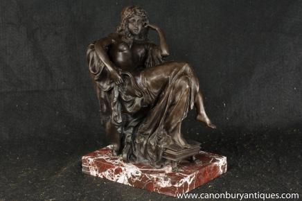 Italian Bronze Seated Roman Maiden Figurine